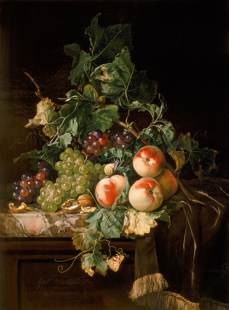 Willem van Aelst. Still life with grapes, peaches and walnuts