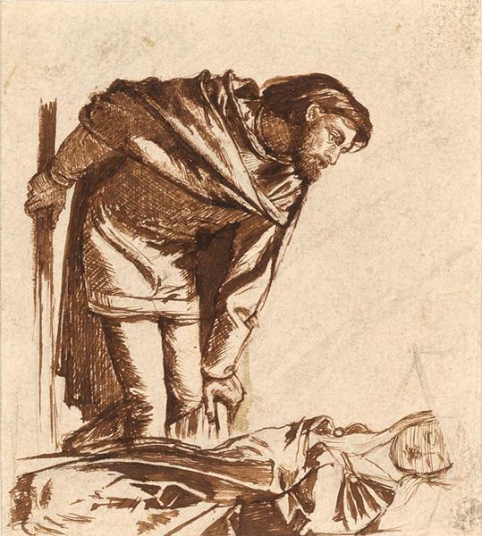 Данте Габриэль Россетти. Ланселот и леди Шалотт. Эскиз