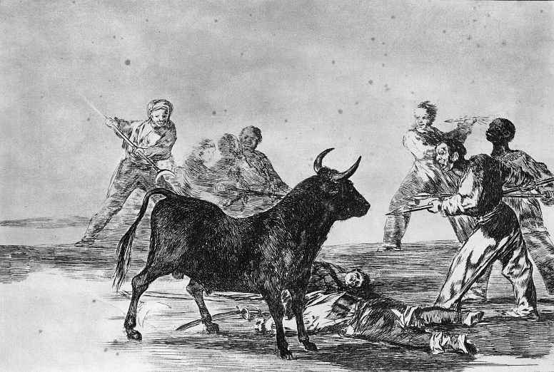 """Франсиско Гойя. Серия """"Тавромахия"""", лист 12: Толпа нападает на быка с копьями, серпами, бандерильями и другим вооружением"""
