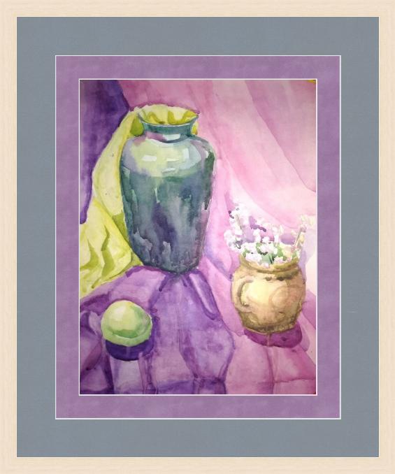 Novikov V.. Still life in watercolor, 90s