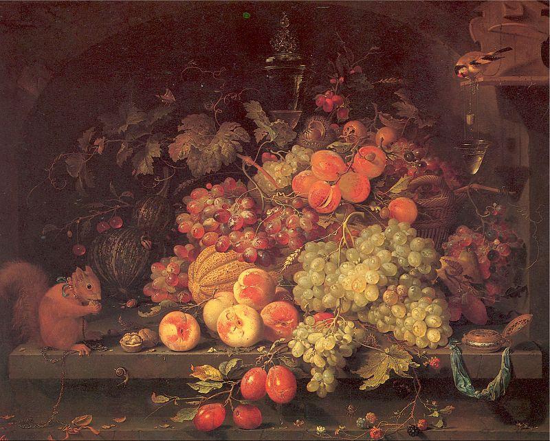 Авраам Миньон. Виноград и персики