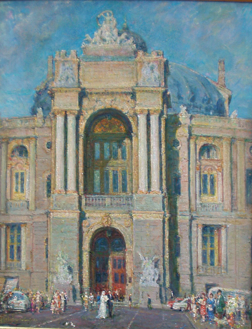 Albin Stanislavovich Gavdzinsky. In front of the opera house