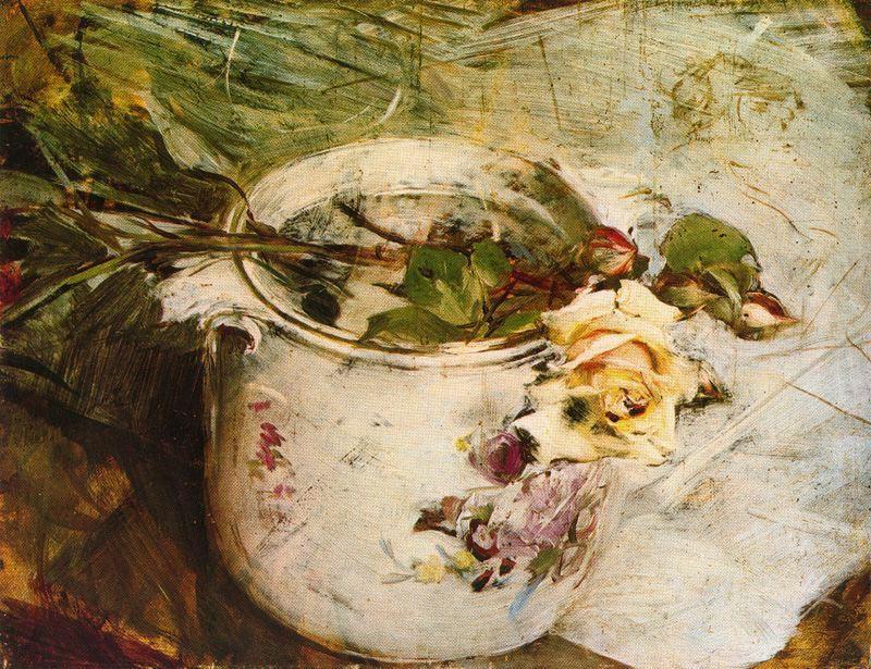 Giovanni Boldini. Still life with yellow rose and Saxon vase