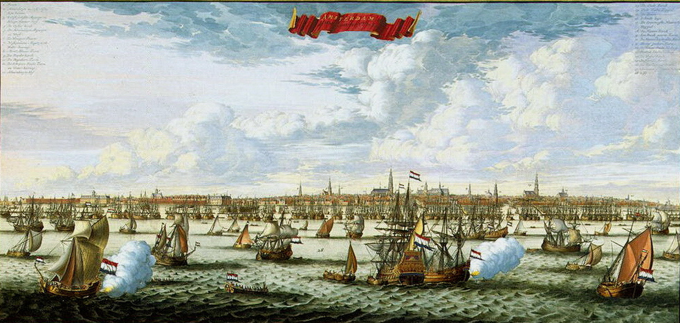Даниель Стопендаль. Панорама и план Амстердама со стороны залива Эй