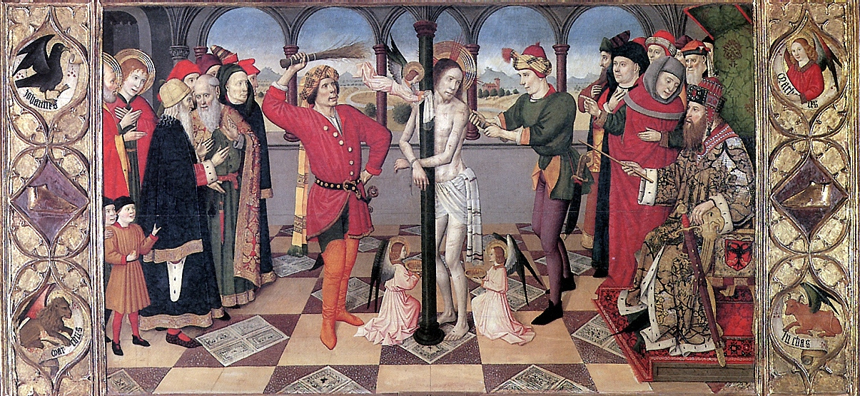 Хайме Уге. Бичевание с четырьмя символами евангелистов