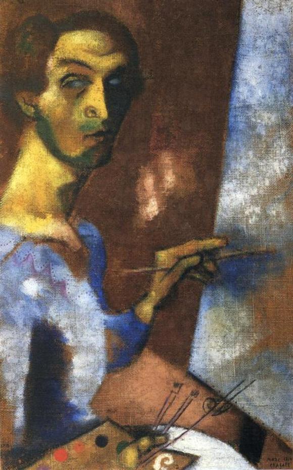Марк Захарович Шагал. Автопортрет с мольбертом