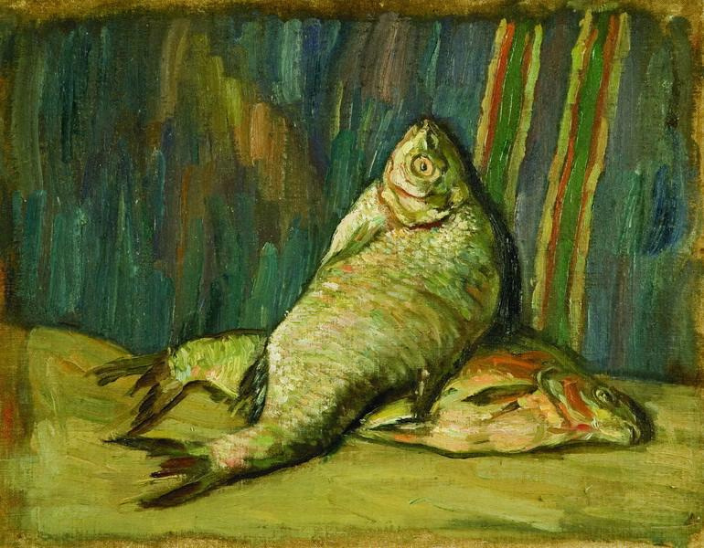 Sergey Mikhailovich Romanovich. Still life with fish