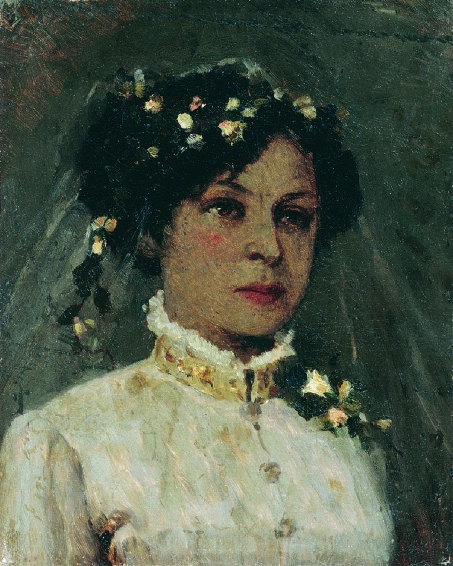 Mikhail Vasilyevich Nesterov. The artist's wife in a wedding dress. Née Maria Ivanovna Martynovskaya