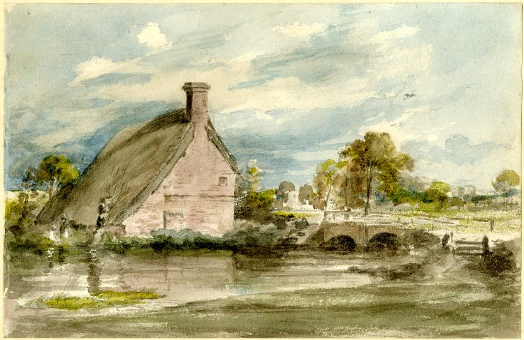 John Constable. A cottage with a bridge in the vicinity of the castle Stratford