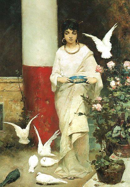 Вильгельм Александрович Котарбинский. Девушка, кормящая голубей