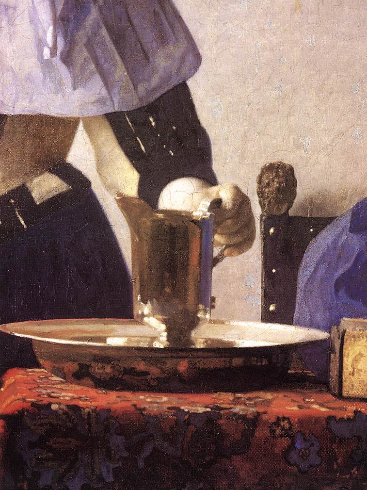 Jan Vermeer. A young woman with a water pitcher. Fragment