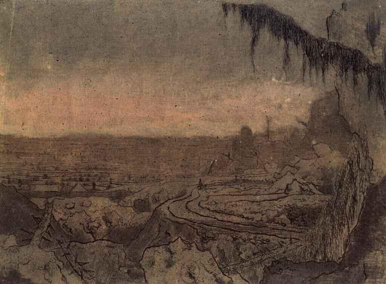Херкюлес Питерс Сегерс. Пейзаж с далеким видом и ветвой ели на первом плане