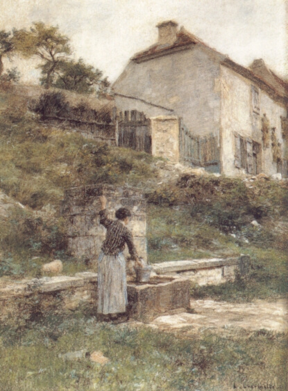 Leon Augustin Lermitt. A woman with a bucket at the well