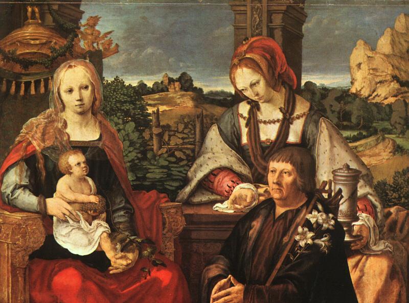 Лукас ван Лейден (Лука Лейденский). Мадонна с младенцем и Марией Магдалиной