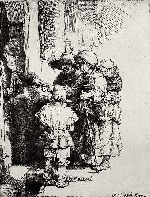 Рембрандт Ван Рейн. Нищие у двери дома