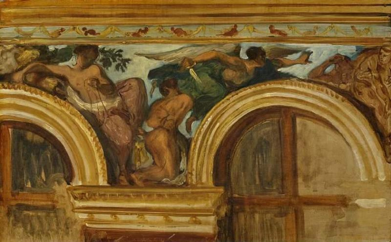 Eugene Delacroix. Justice. A sketch of the mural in the Palais Bourbon in Paris