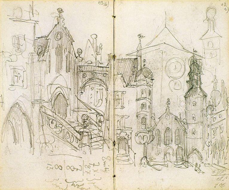 Ян Матейко. Вид на Мариенплац в Мюнхене