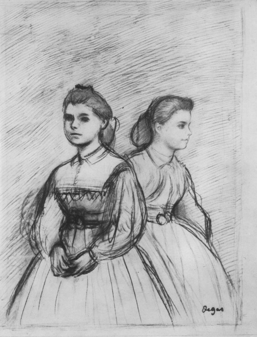 Edgar Degas. Double portrait of Giovanna and Giulia Bellelli