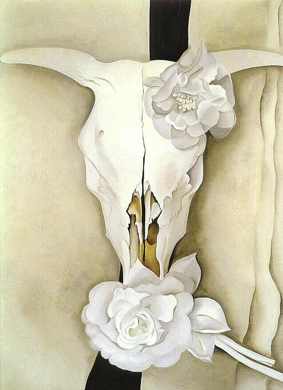 Georgia O'Keeffe. Cow skull and calico roses