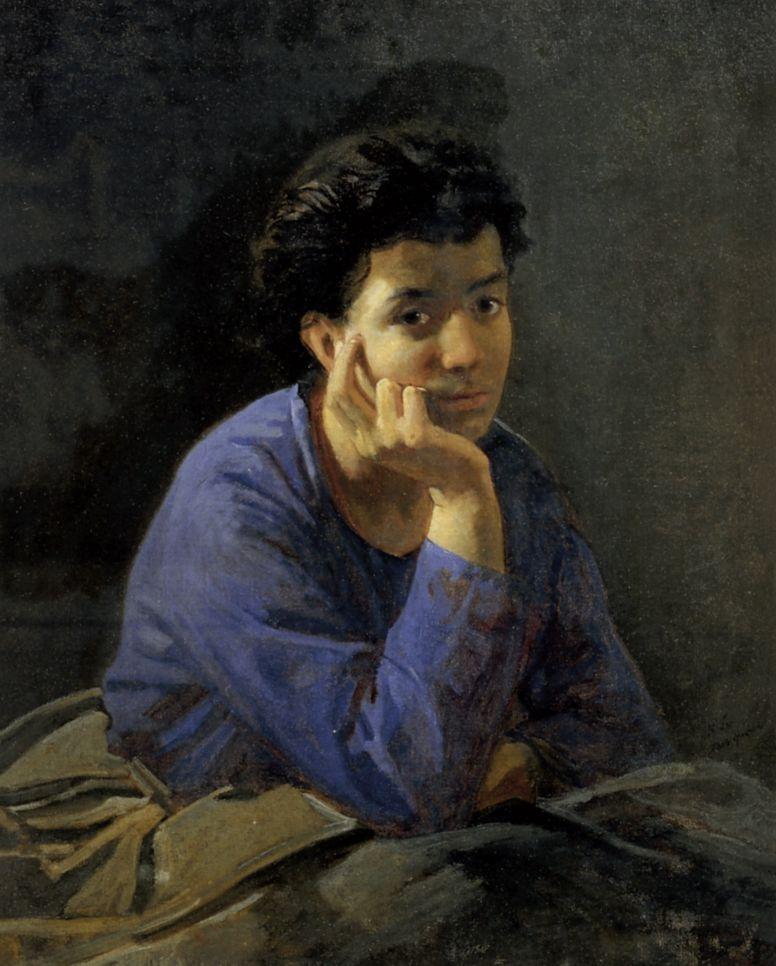 Николай Николаевич Ге. Портрет неизвестной в голубой блузе