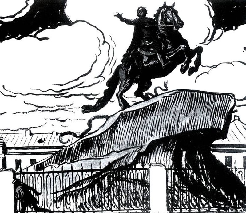 "Alexander Nikolaevich Benoit. Illustration for poem by A. S. Pushkin ""the bronze horseman"". ""Around the foot of the lunatic poor spared..."""""