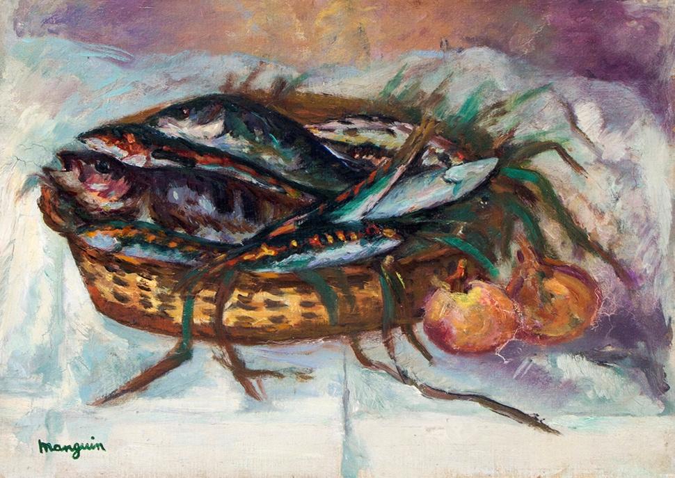 Henri Manguin. Still life with basket of fish