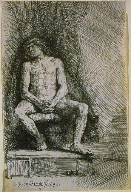 Рембрандт Ван Рейн. Обнаженный мужчина