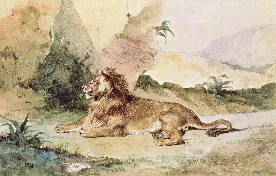 Eugene Delacroix. Lion in the desert