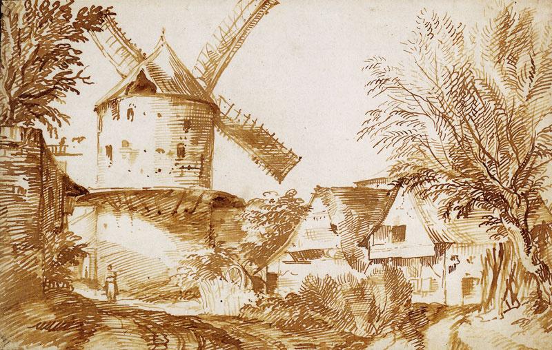 Ян Ливенс. Деревенская улица с ветряной мельницей
