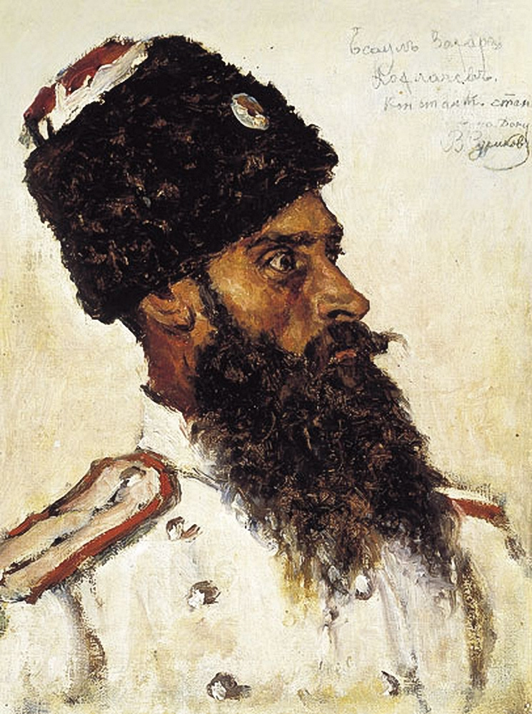 Vasily Ivanovich Surikov. Portrait of the captain in uniform. Etude