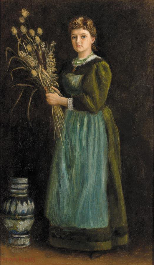 Arthur Hughes. Woman in a green dress. Portrait of lucy hill