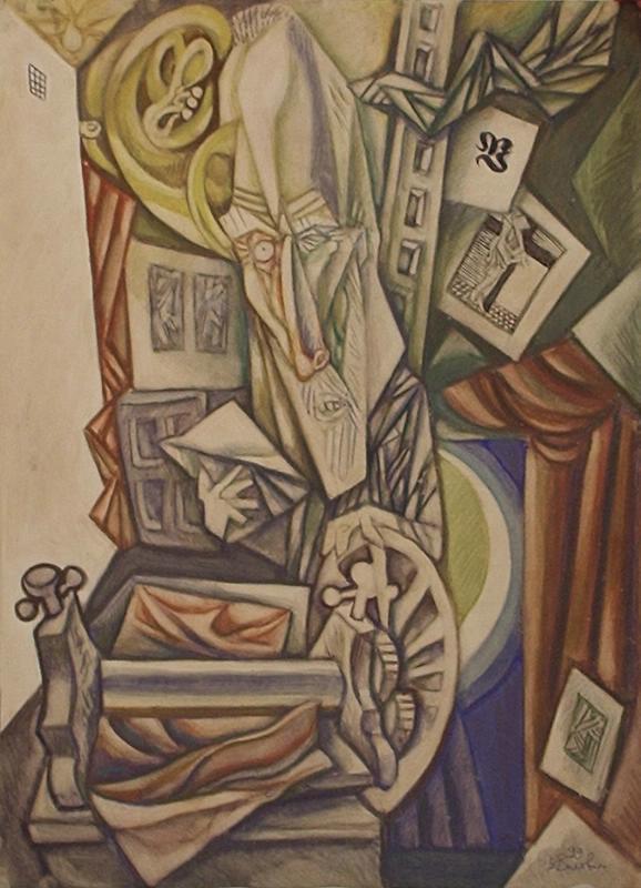 "Виталий Михайлович Волович. At the etching machine. Series ""My workshop"""
