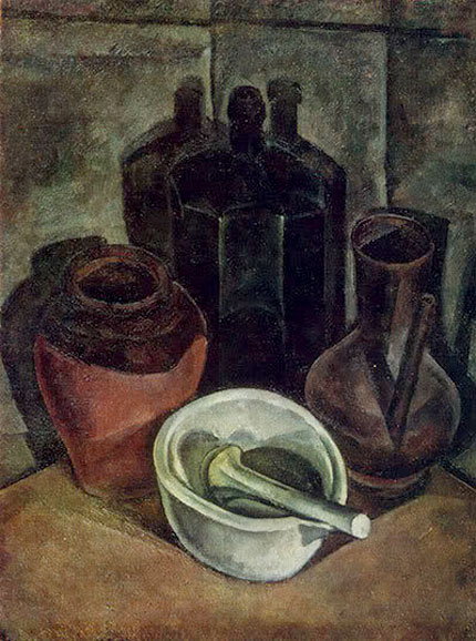 Alexander Alexandrovich Osmyorkin. Still life with a bottle and a porcelain mortar. From the collection of N. G. Osmerkina.