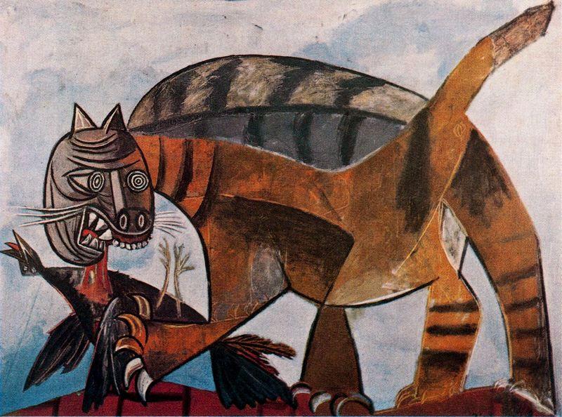 Пабло Пикассо. Кошка, пожирающая птицу