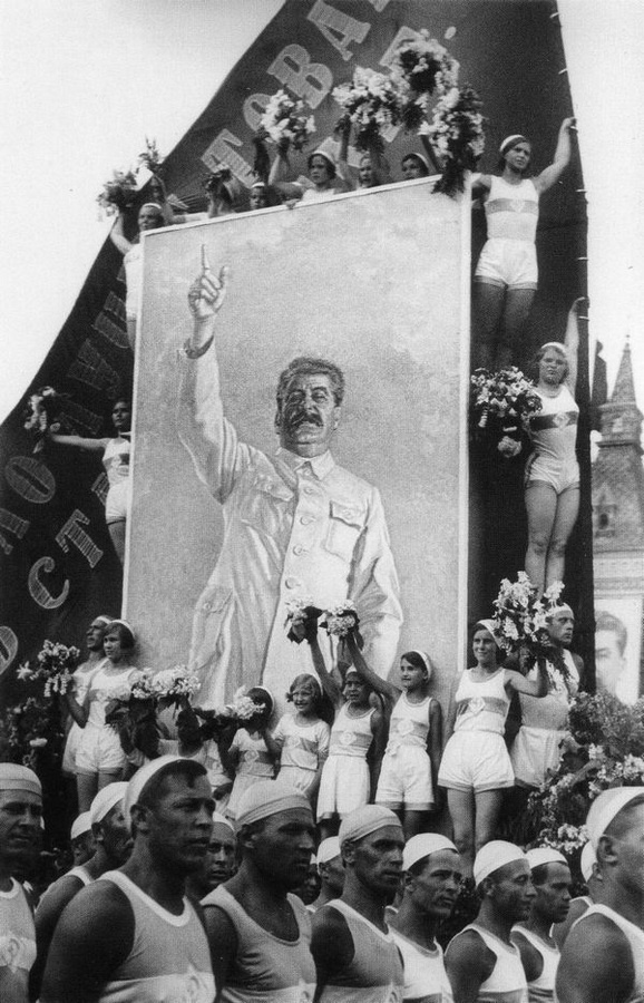 Historical photos. Portrait of Stalin at the parade of athletes in Moscow