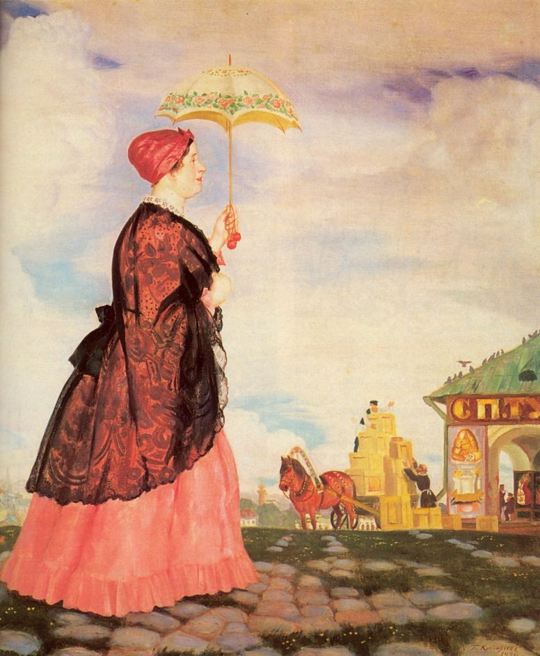 Boris Mikhailovich Kustodiev. The merchant's wife with purchases. Fragment