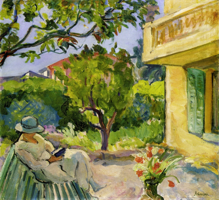 Анри Лебаск. Ле-Канне мадам чтение в саду