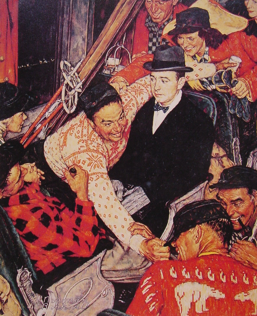 Norman Rockwell. Skiers in the train