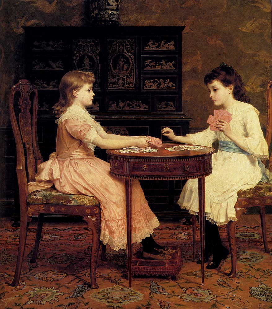 карты и дети играют в