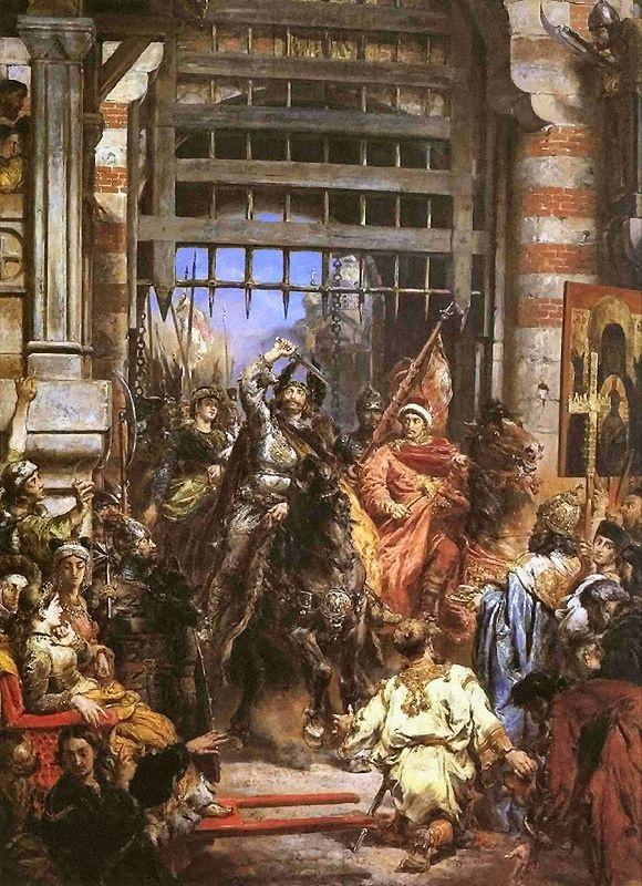 Ян Матейко. Болеслав I Храбрый на Золотых воротах в Киеве (Киевский поход Болеслава)