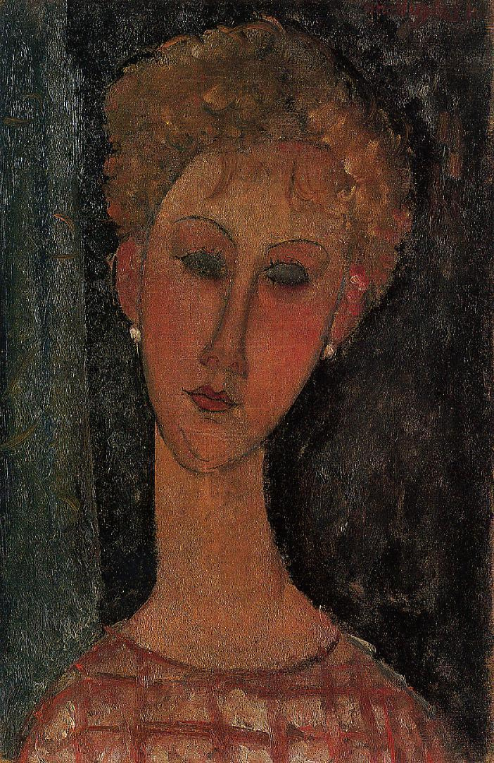 Amedeo Modigliani. Portrait of the blonde with the earrings