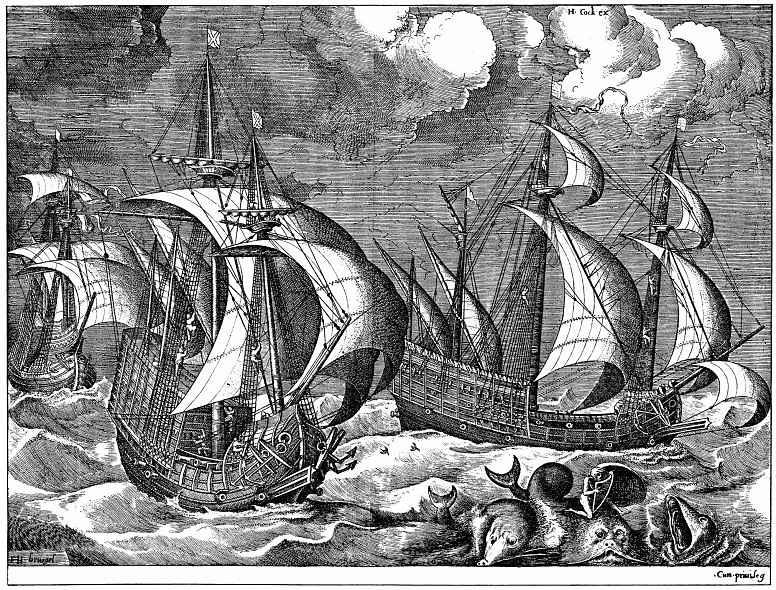Питер Брейгель Старший. Три парусных корабля в бурю