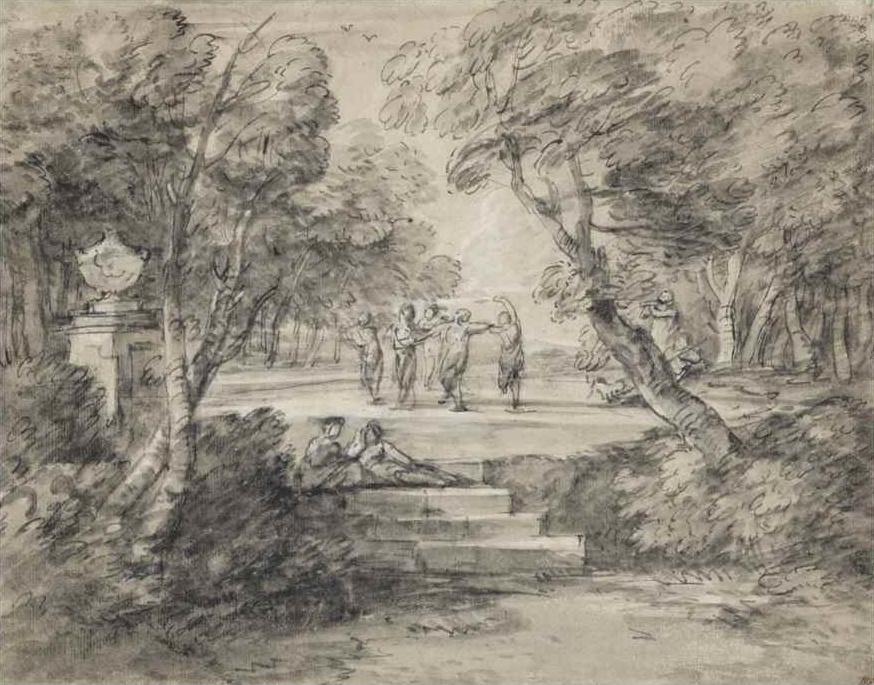 Томас Гейнсборо. Пейзаж с танцующими фигурами в парке