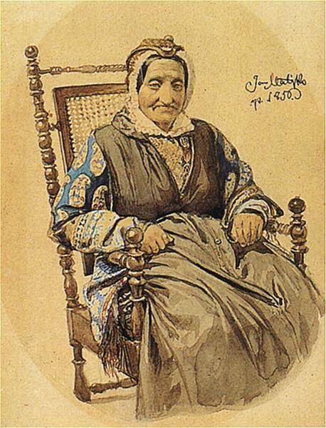 Ян Матейко. Портрет пожилой еврейки