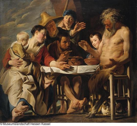 Jacob Jordaens. Satyr visiting a peasant