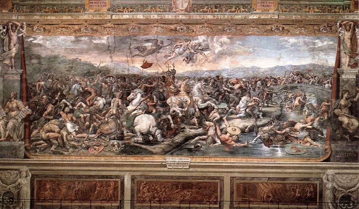 Рафаэль Санти. Битва на мосту Мильвио между Константином и Максенцием. Фреска зала Константина дворца понтифика в Ватикане. Панорама