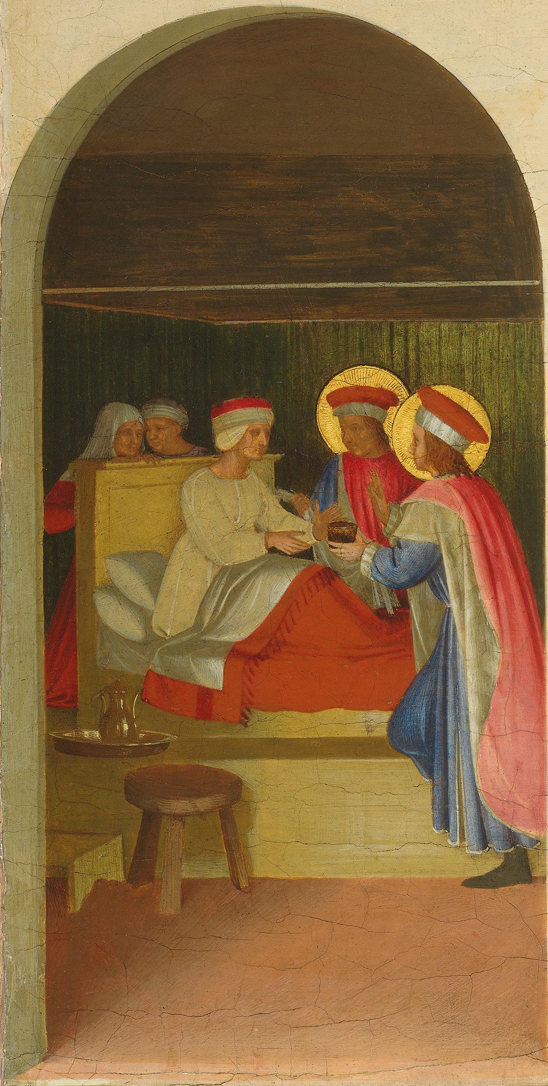Фра Беато Анджелико. Исцеление мужа Палладии святыми Косьмой и Дамианом. Алтарь монастыря Сан Марко. Пределла, фрагмент