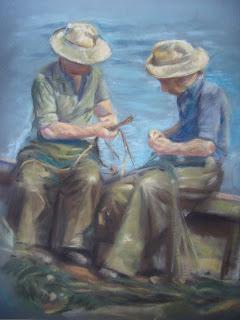 Unknown artist. Fishermen mending their nets.