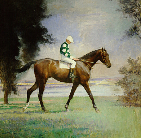 Edmund Charles Tarbell. A thoroughbred horse with jockey