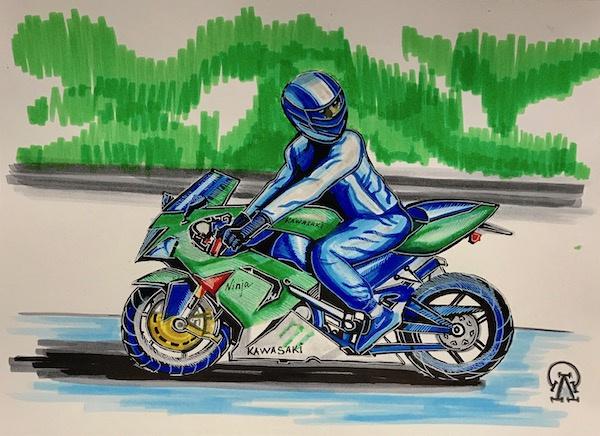 Larissa Lukaneva. Motorcyclist. Sketch.